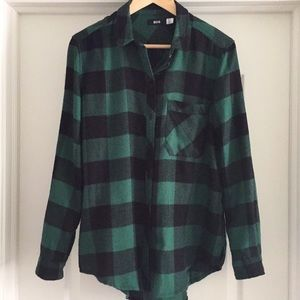 BDG green and black checked brushed flannel shirt